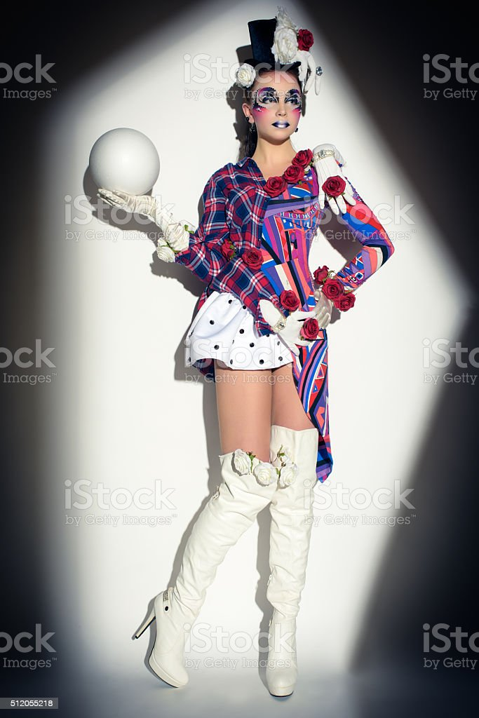 mysterious jester character stock photo