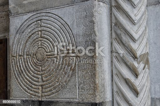 857874170 istock photo Mysterious labyrinth carved in stone 693669510