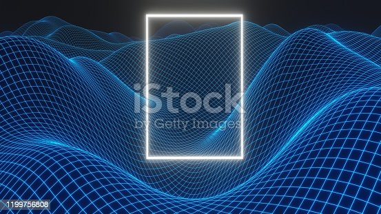 512407584 istock photo Mysterious light figure hovering over the virtual landscape 1199756808