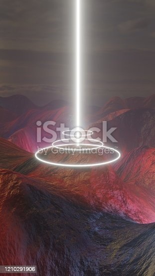 512407584 istock photo Mysterious light figures hovering over the Martian landscape 1210291906