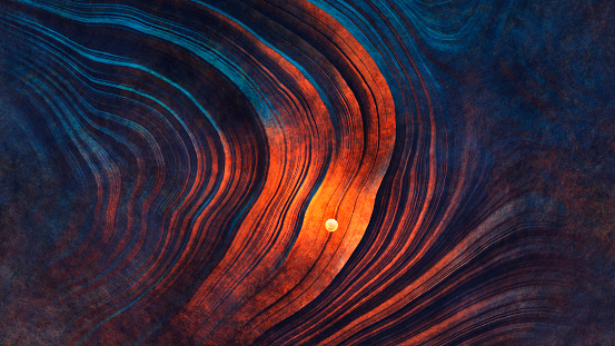 Mysterious light sphere hovering over Martian landscape.
