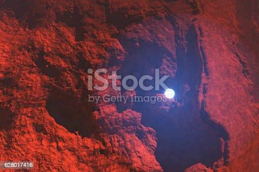 istock Mysterious light sphere hovering over Martian landscape 628017416