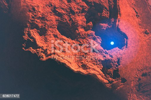 istock Mysterious light sphere hovering over Martian landscape 628017472