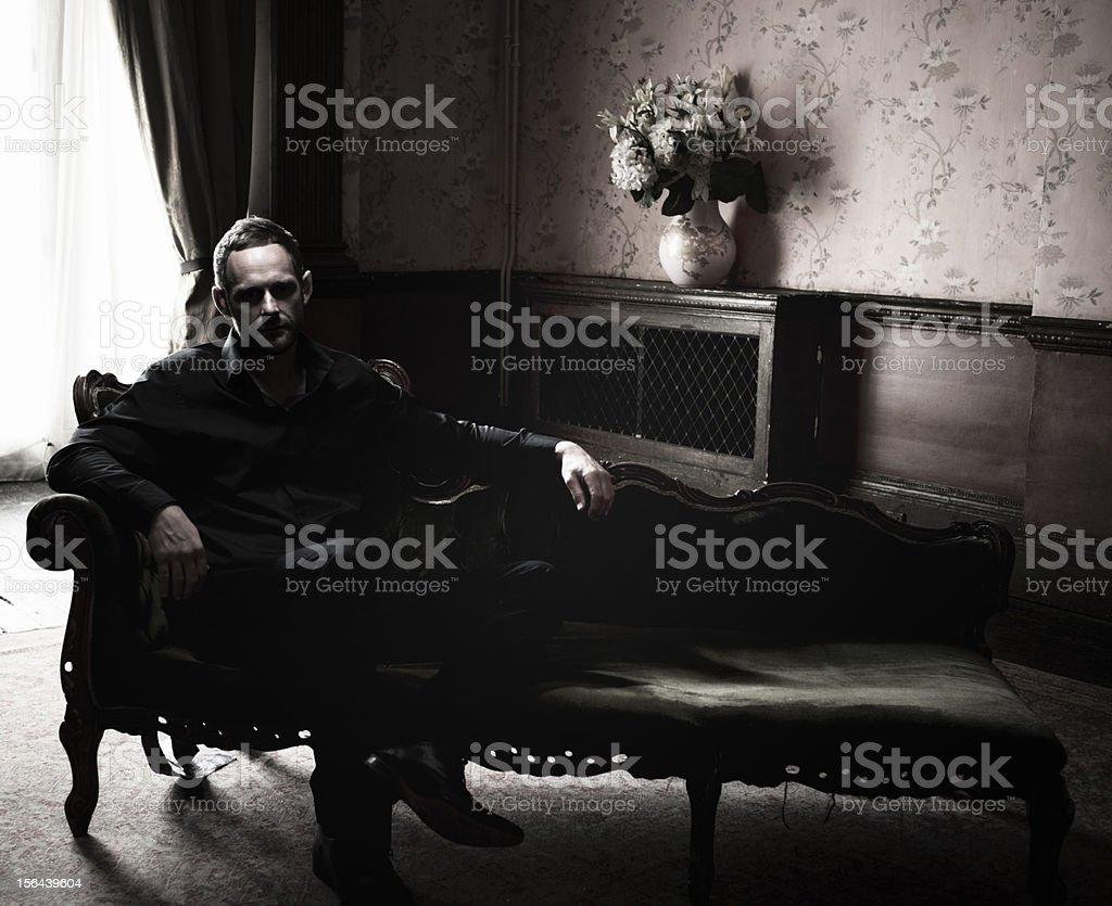 Mysterious Man, Dark Room stock photo