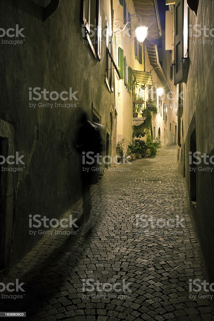 Mysterious Man in Backstreet, City Life royalty-free stock photo