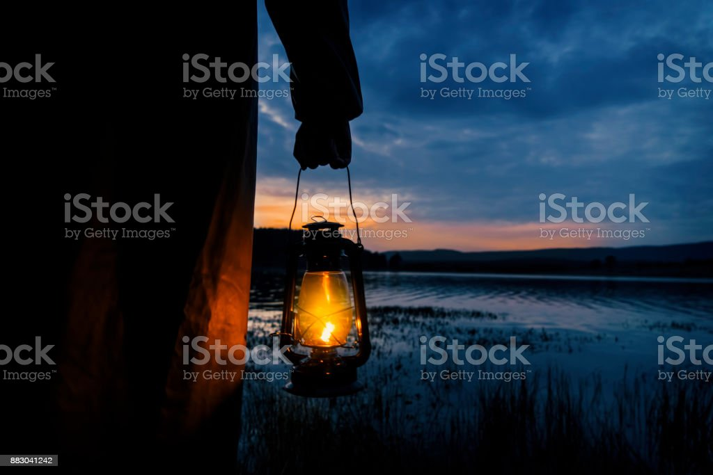 Mysterious Man in Lake stock photo