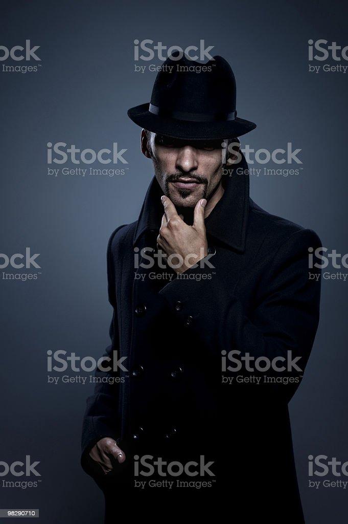 Mysterious man retro portrait royalty-free stock photo