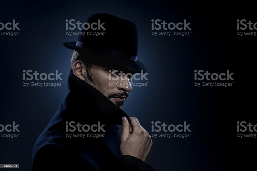 Mysterious man retro portrait royalty-free stock photo