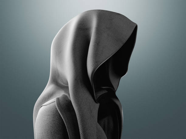 Mysterious man with hood Mysterious man with hood, illustration creepy stalker stock pictures, royalty-free photos & images