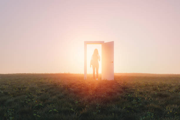 Mysterious meadow passage stock photo