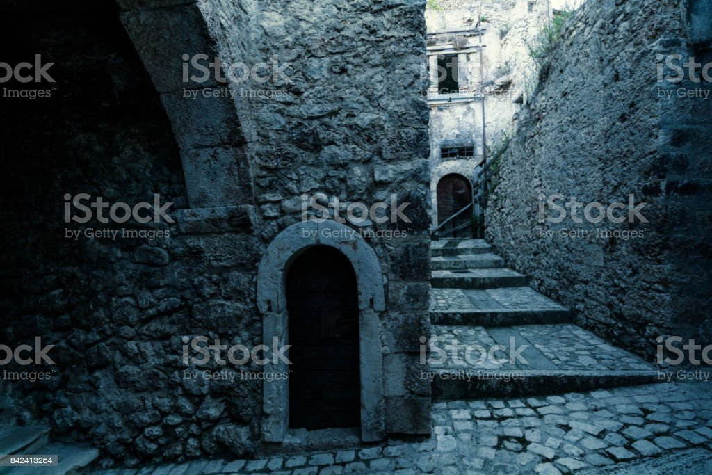 Mysterious medieval village stock photo