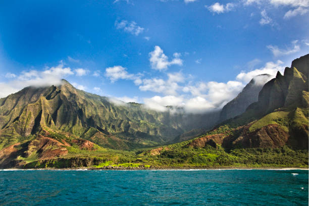 Mysterious Misty Na Pali Coast and Waimea Canyon, Kauai, Hawaii stock photo
