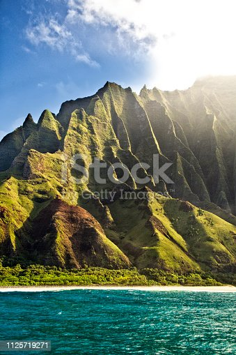 The scenic view of the Na Pali Coast and the Waimea Canyon of Kauai, Hawaii.