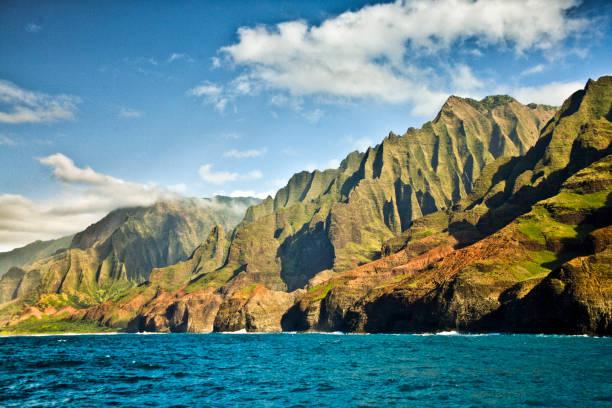 Mysterious Misty Na Pali Coast and Waimea Canyon, Kauai, Hawaii stock photo
