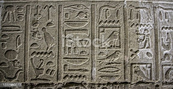 Mysterious murals on the walls of the Temple of Dendera Hathor , near the city of Ken.