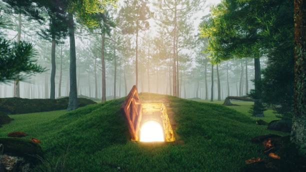 misteriosa porta de escotilha aberta na floresta - escapismo - fotografias e filmes do acervo