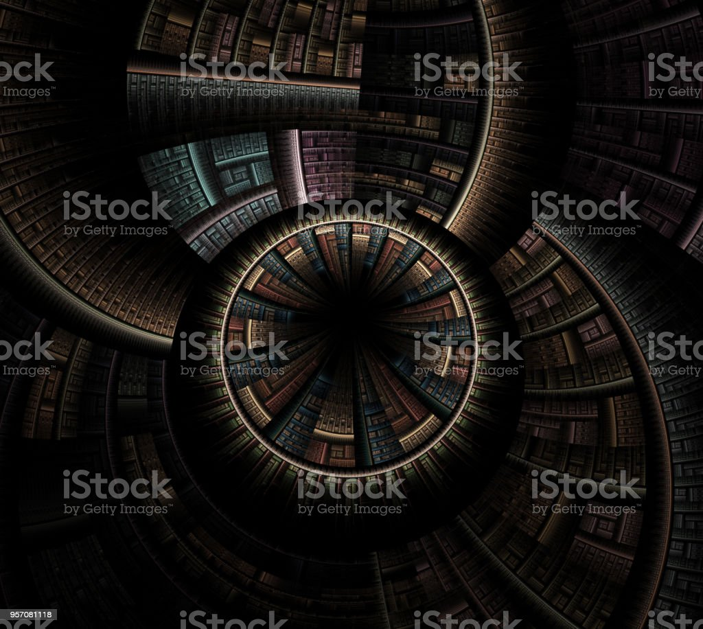 Mysterious sci fl tunnel with light at the end stock photo