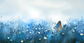 istock Mysterious soft blue misty morning in the meadow with flying butterfly 1279289351
