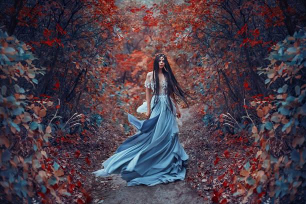 geheimnisvolle zauberin - abendkleid lang blau stock-fotos und bilder