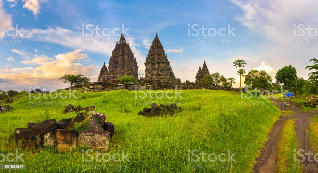 Mysterious temple complex of Prambanan, Java Island, Indonesia stock photo