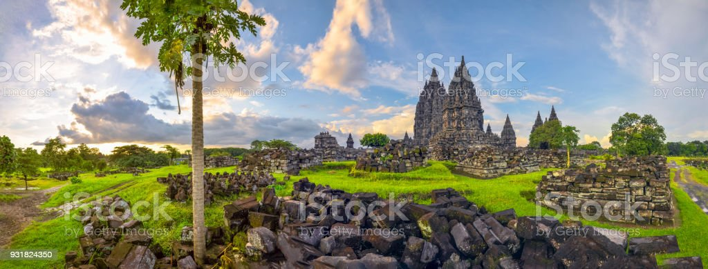 Mysterious temple complex Prambanan, Indonesia stock photo
