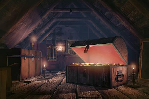 geheimnisvolle schätze reichtum in der mansarde - piratenzimmer themen stock-fotos und bilder