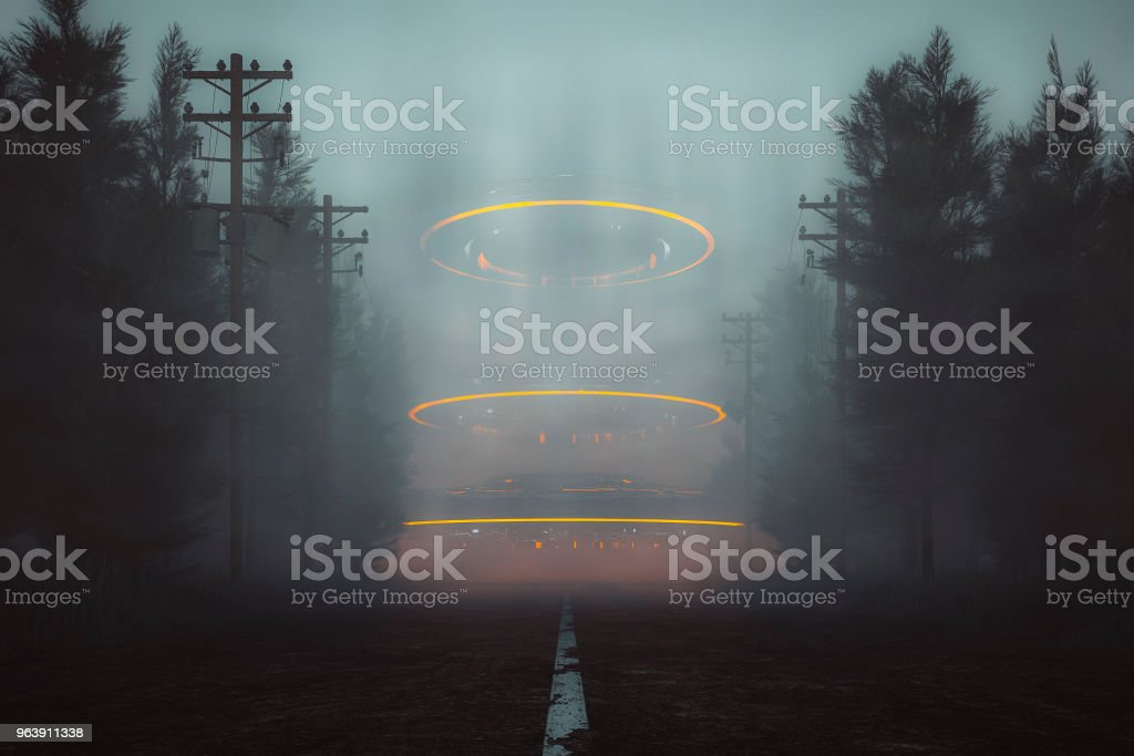 Mysterious UFOs on the forest road at night - Royalty-free Arrival Stock Photo