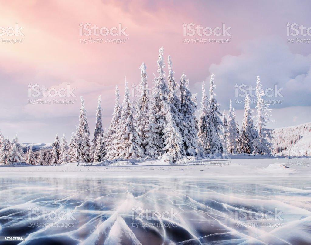 Mysteriöse Winter Landschaft majestätischen Berge im Winter. Zauberhafte Winterschnee bedeckten Baum. Foto-Grußkarte. Bokeh Lichteffekt, soft-Filter. – Foto