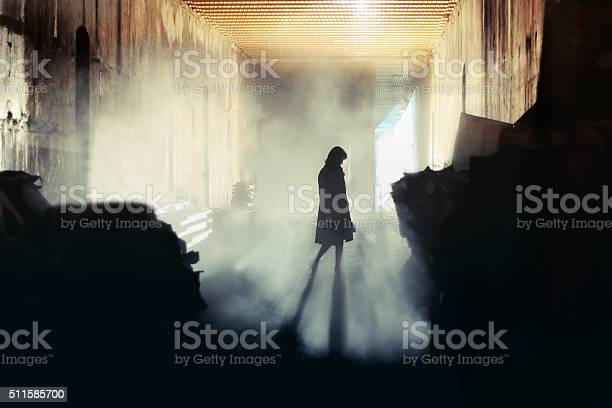 Mysterious Woman Mystery Woman In Mist Silhouette Stock Photo - Download Image Now