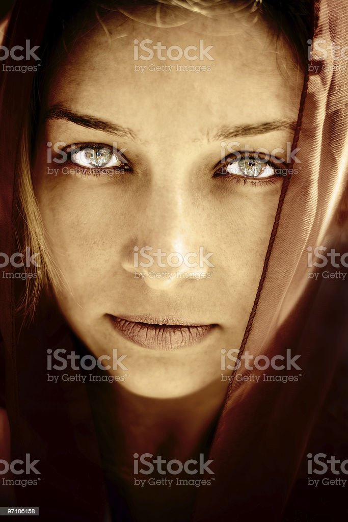 Mysterious woman with stunning eyes royalty-free stock photo