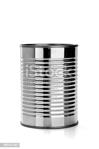 A mysterious can, with no label, isolated on a white background.