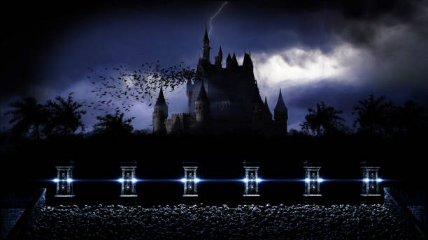 Mystery dark castle with ghosts. Fear. 3d rendering. stock photo