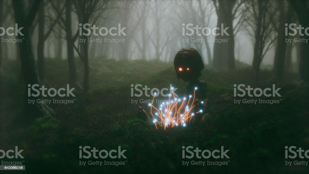 Floresta de mistério com alienígena criança brincando - foto de acervo
