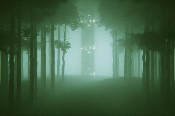Floresta de mistério com formação alienígena - foto de acervo