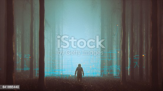 istock Mystery forest with lost astronaut 641885440