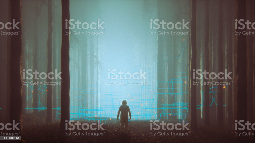 Mystery forest with lost astronaut stock photo