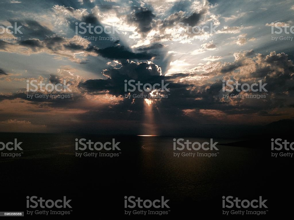 Mystery light in the sea from the sky royalty-free stock photo