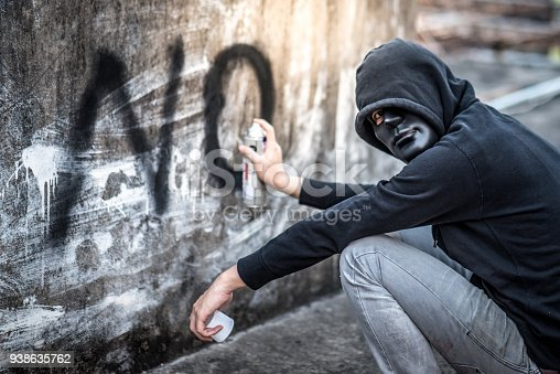 istock Mystery man in hoody jacket spraying word no on the wall in abandoned building 938635762