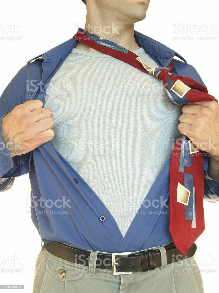 Mystery-man Opens Shirt to Reveal Blank Chest Area for Logo royalty-free stock photo