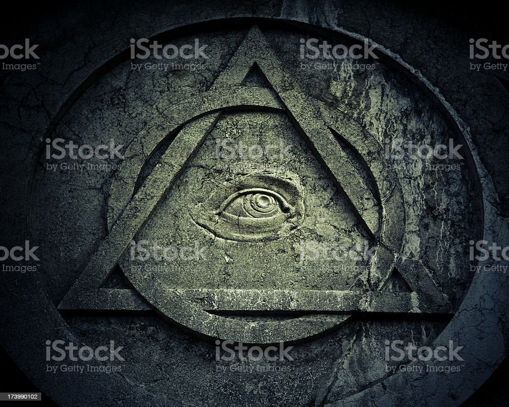 Mystic Eye symbol with interlocking circle and triangle stock photo