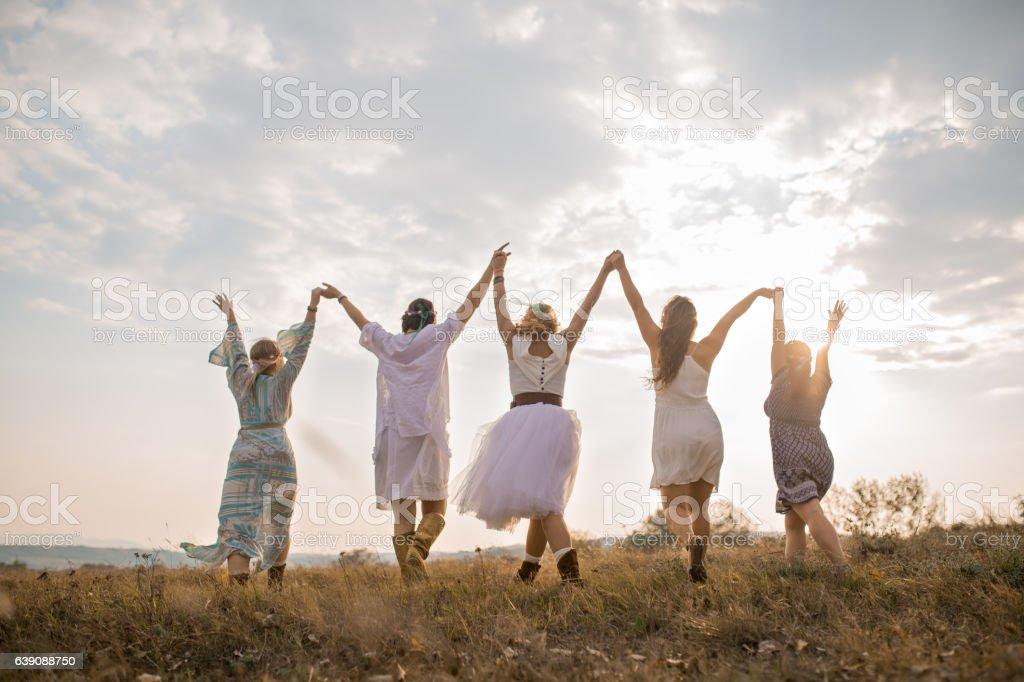 Mystic Hippie girls stock photo