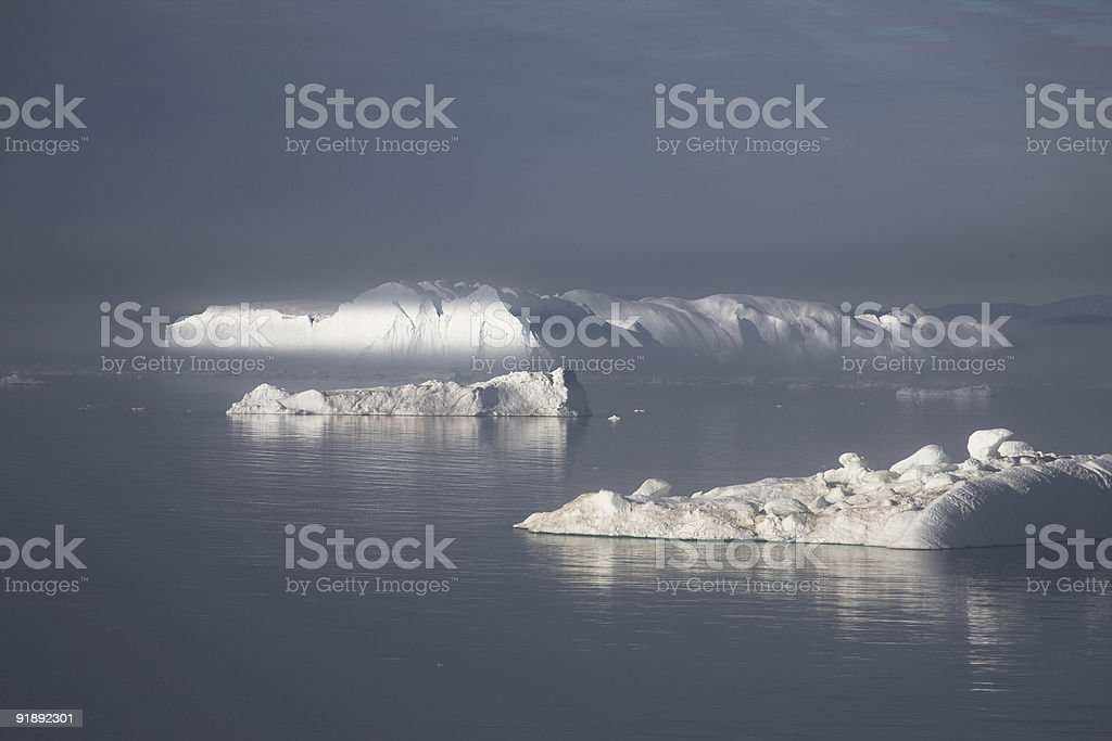 Mystic icebergs stock photo