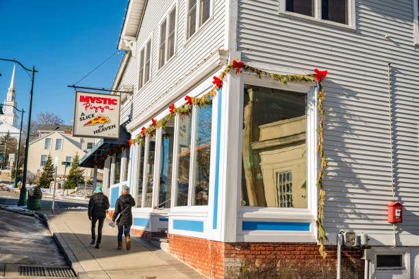 Mystic Pizza in Connecticut, located on the Mystic town stock photo