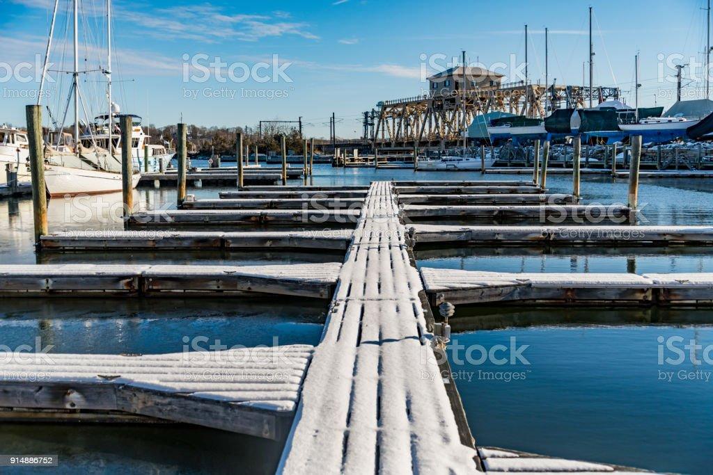 Mystic Seaport with docks stock photo