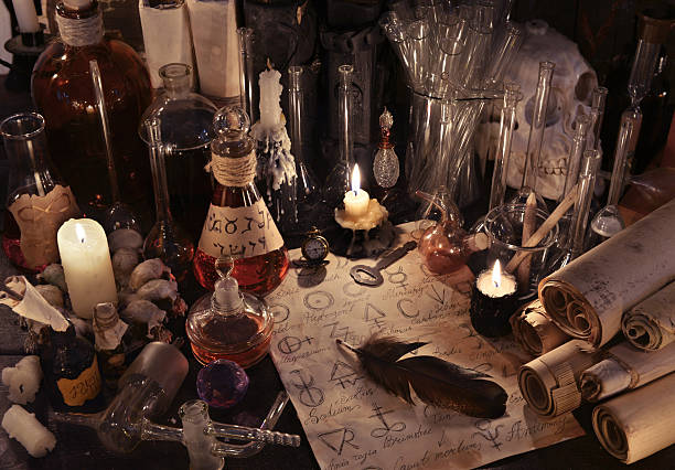 Mystic still life with alchemy paper, bottles and candles – Foto