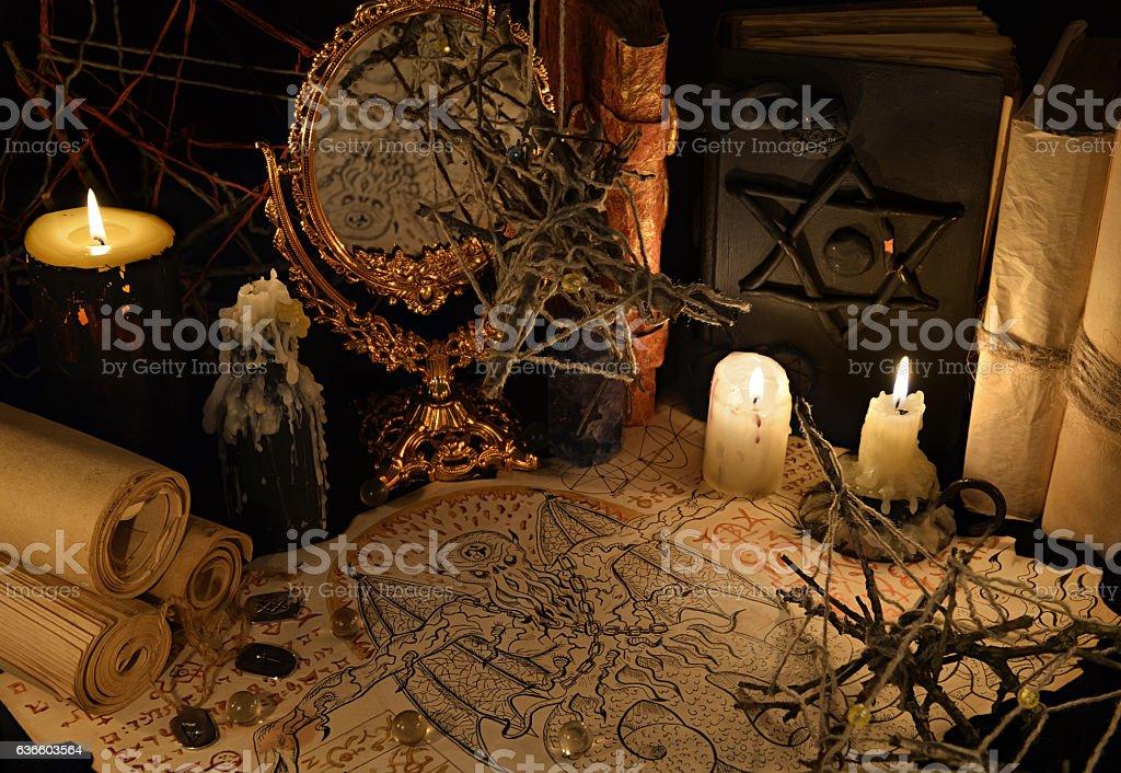 Mystic still life with demon manuscript and magic books