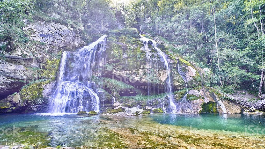 Mystic waterfall in Bovec royalty-free stock photo