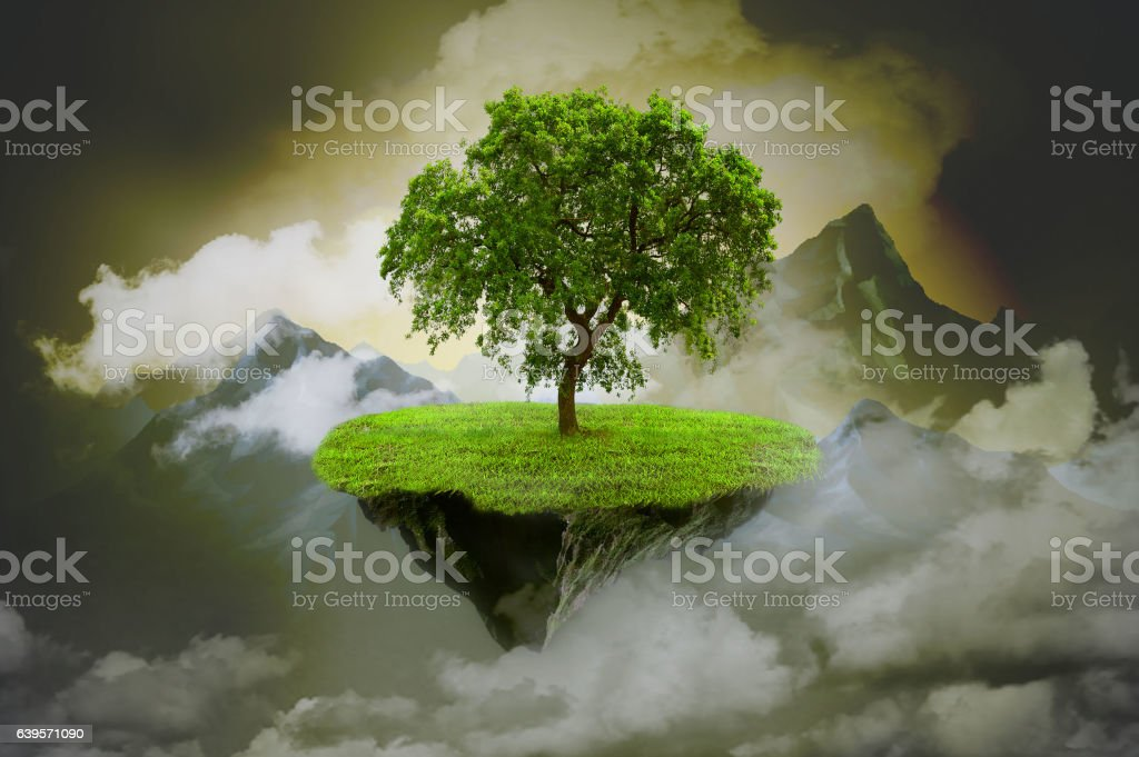 Mystical background with rock with tree stock photo