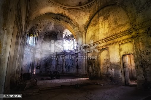 Mystical fantasy haunted abandoned temple. Interior of abandoned church of Dmitry Solunsky.