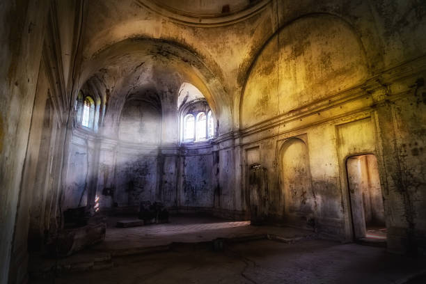 Mystical fantasy haunted abandoned temple. Interior of abandoned church of Dmitry Solunsky Mystical fantasy haunted abandoned temple. Interior of abandoned church of Dmitry Solunsky. abbey monastery stock pictures, royalty-free photos & images